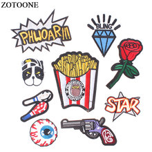ZOTOONE Cartoon Lot Multi-styles Embroidered Iron-On Patches for Clothing Rose Letter Stickers Badges DIY Sewing Accessories E
