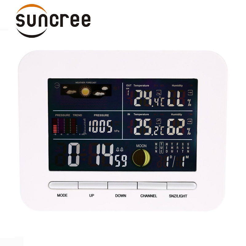 Digital Home Wireless Weather Station Table&Desktop Calendar Alarm Clock With IN/OUT Temperature Thermometer+Humidity Hygrometer