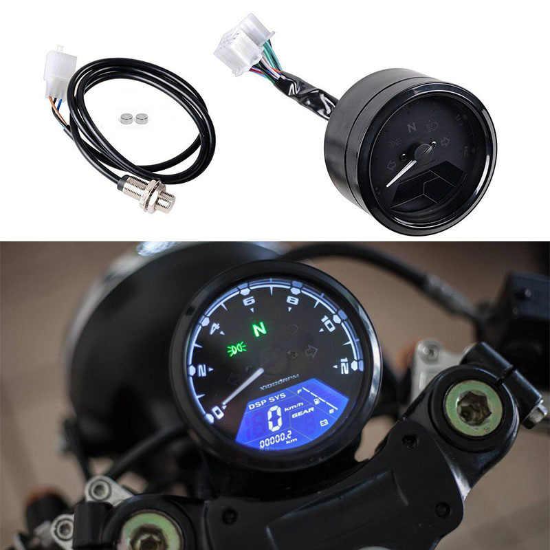 Universal Digital Motorcycle Speedometer Odometer Tachometer Motorbike  Dashboard Speed Indicator LED Speed Meter