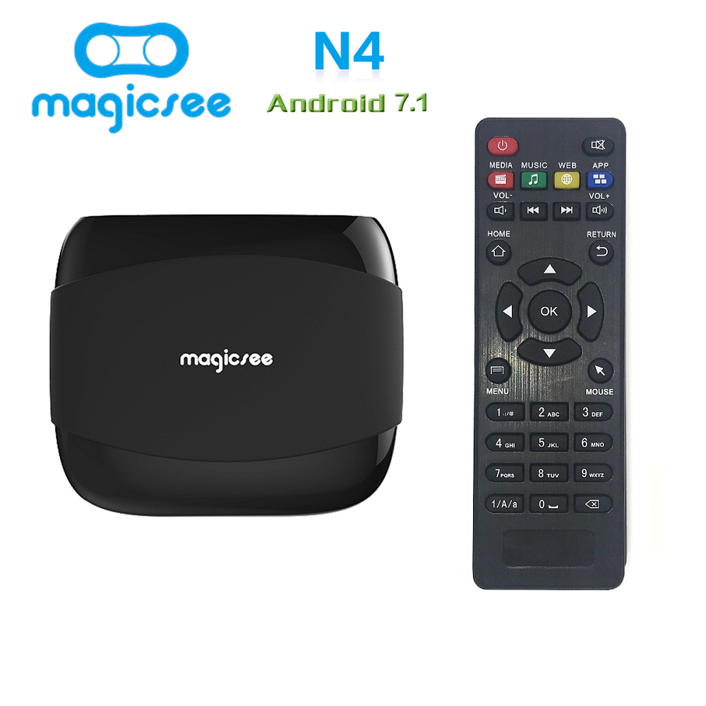 Magicsee N4 Amlogic S905X Android 7,1 TV BOX Quad-core 4 K Resolución 2 GB/16 GB 2 g/8g ayuda 2,4g WIFI LAN HDMI H.265 Smart Box
