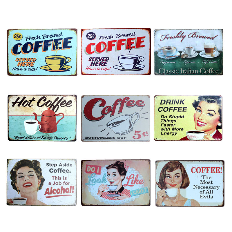 Kaffe Menu Metal Plaque Signs Hus Art Licens Plakat Home Decoration License Plate Tin Wall Decor 20 * 30 CM