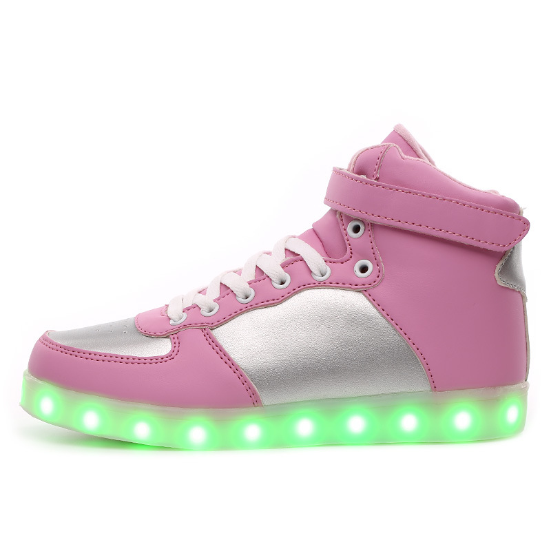 led shoes for adults casual shoes with led luminous shoes men woman high top for big size glowing shoes plus size 35 40 led shoes women glowing 7 colors led shoes for adults fashion luminous led light shoes woman sapato feminino