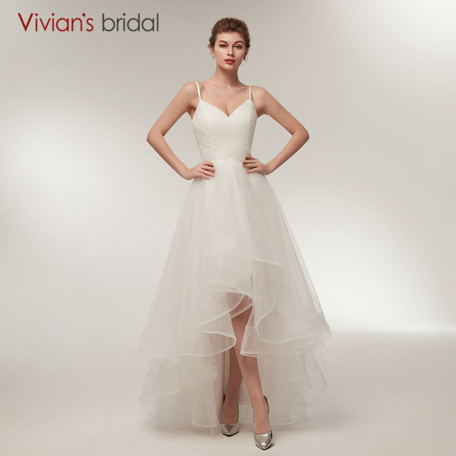 Spaghetti Straps Wedding Dress A Line Vivians Bridal V Neck Short - Spaghetti Strap Wedding Dresses