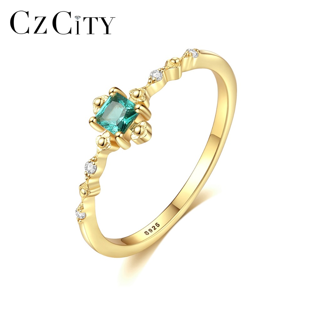 CZCITY Fashion Delicate Square Emerald Bridal Wedding Ring Genuine 925 Silver Sterling Female Gemstone Ring Brand Silver Jewelry