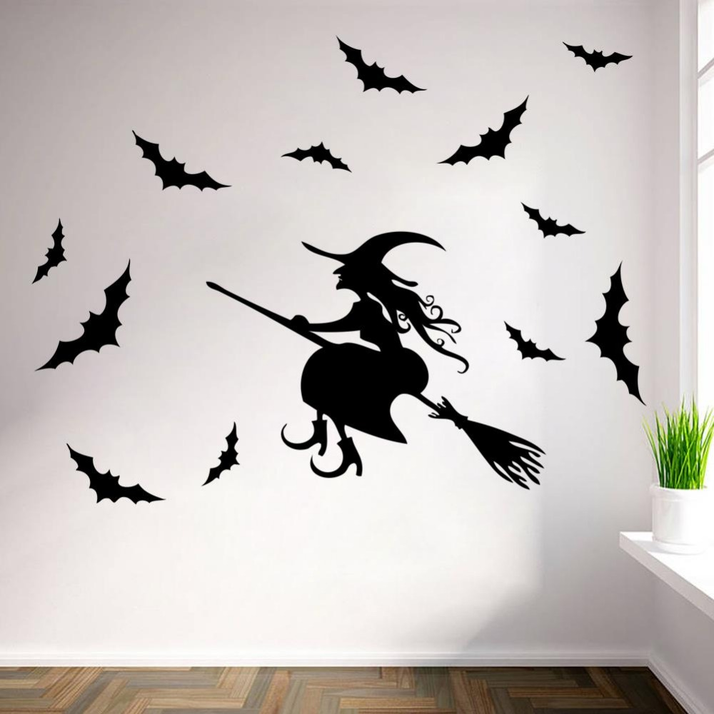 high quality diy 3d halloween party black bats witch flying decorative wall sticker decoration eve of