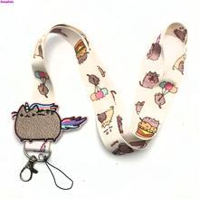 R156 маленький цветок Переводные картинки ключ строп ID бейдж держатель животное телефон шейный ремень с кольцом для ключей