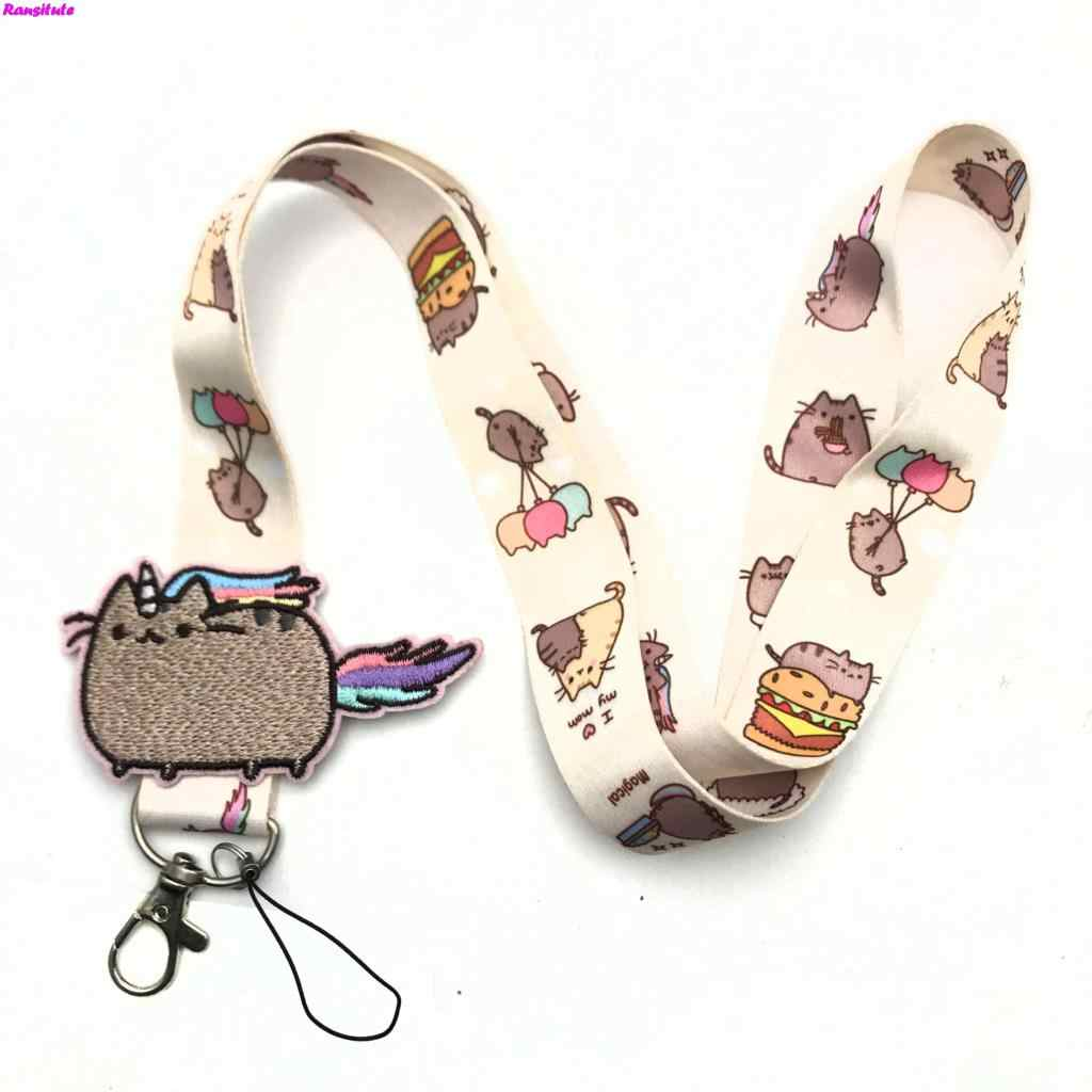 R156 Small flower decals key lanyard ID badge holder animal phone neck strap with key ring