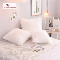 SlowDream Nordic Style White Plush Cushion Cover Soft Fur Pillow Cover Decorative Pillow Case Sofa Seat Car Pillowcase