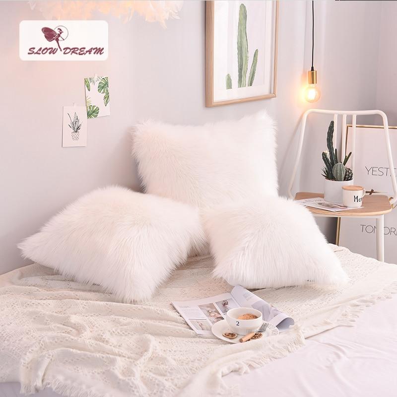 SlowDream Nordique Style Blanc En Peluche housse de coussin Doux Fourrure housse d'oreiller taie d'oreiller décorative siège sofa De Voiture Taie D'oreiller