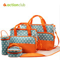 New Dot diaper  high quality nappy changing durable messenger nappy bag fashion baby  mummy bags 5 pcs/set changing pad HK799