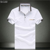 Free Shipping Plus Size Fat Guys Summer Male Clothing T Shirt 5xl Turn Down Collar Cotton