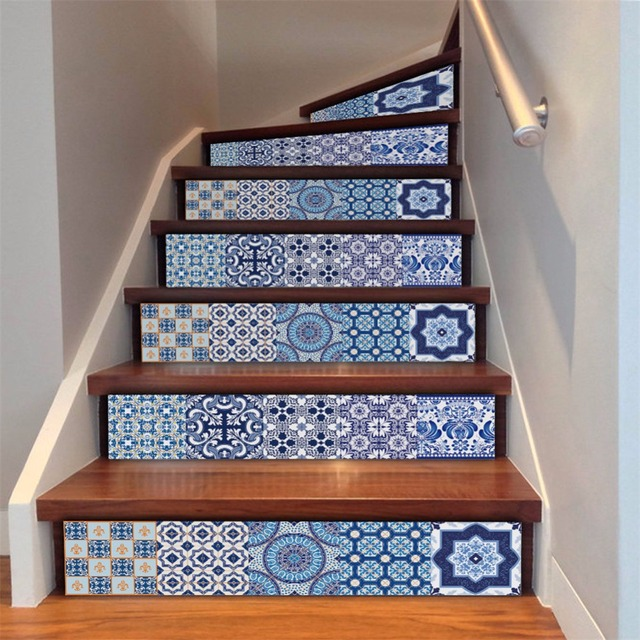 Yanqiao Chinese Style Vintage Spanish Talavera Mexican Tile Mix Stair  Decals Sticker DIY Wallpaper Peel And