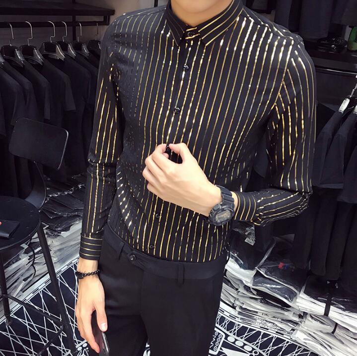 Hommes or rayé chemise cheveux chemise styliste version masculine de la tendance de décontracté à manches longues beau d'affaires vêtements pour hommes