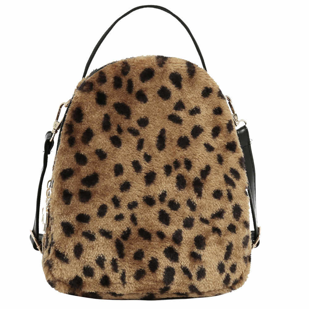 Women Leopard Print Backpacks Plush Student Rucksack Satchel Travel School  Hand Bag Backpack Bookbag Mochila Gift