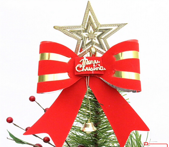 Large Bell Bow Best Promotion Lovely Shiny Xmas Decorative Christmas Star Tree Topper For Table Top