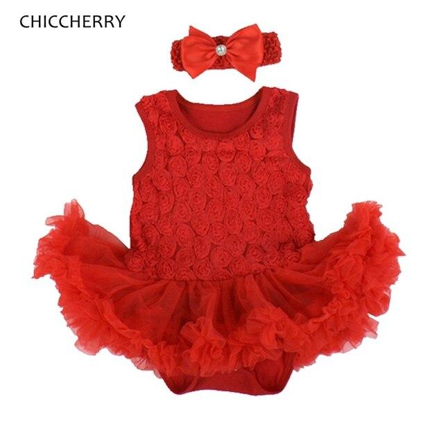 Мода 3D Розы Красные Кружевные Юбки Младенческой Wedding Dress с Оголовьем Девушки Платья Лето 2016 Платье Детской Одежды