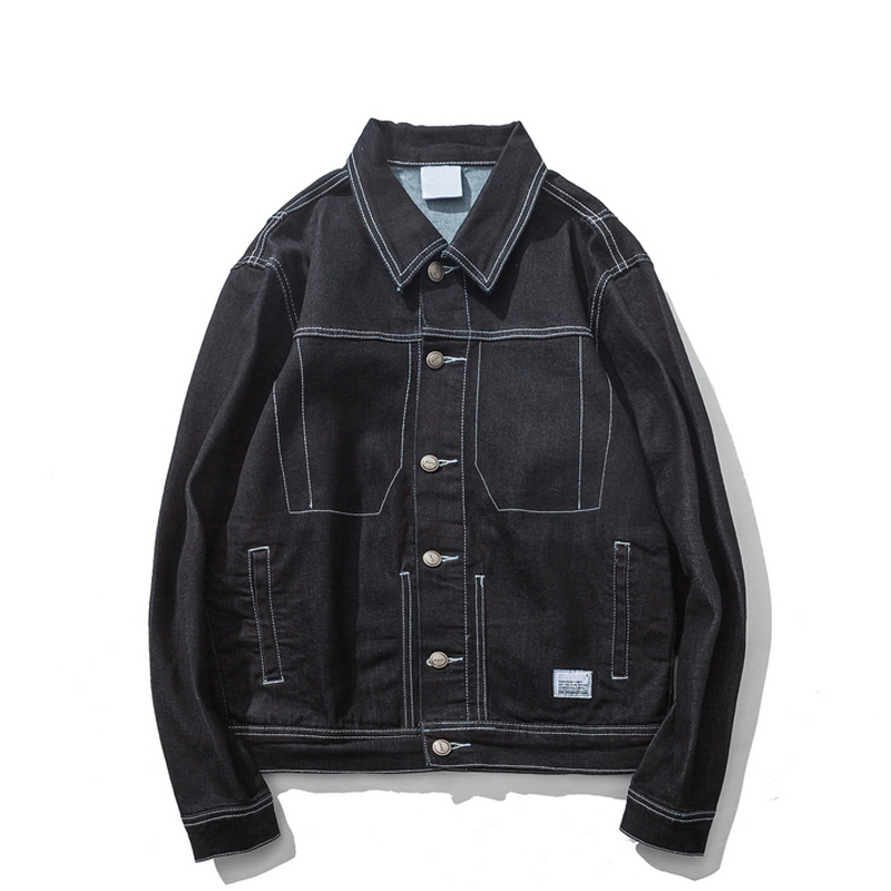 2018 Autumn Vintage Classic Sewing Denim Jeans Casual Jackets Men Coat Fashion Male Jacket Clothes Clothing Black 6310