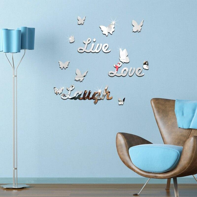 2017 г. европейские модные украшения дома бабочка зеркальную поверхность 3d наклейки гостиная узор DIY мебель Бесплатная доставка ...