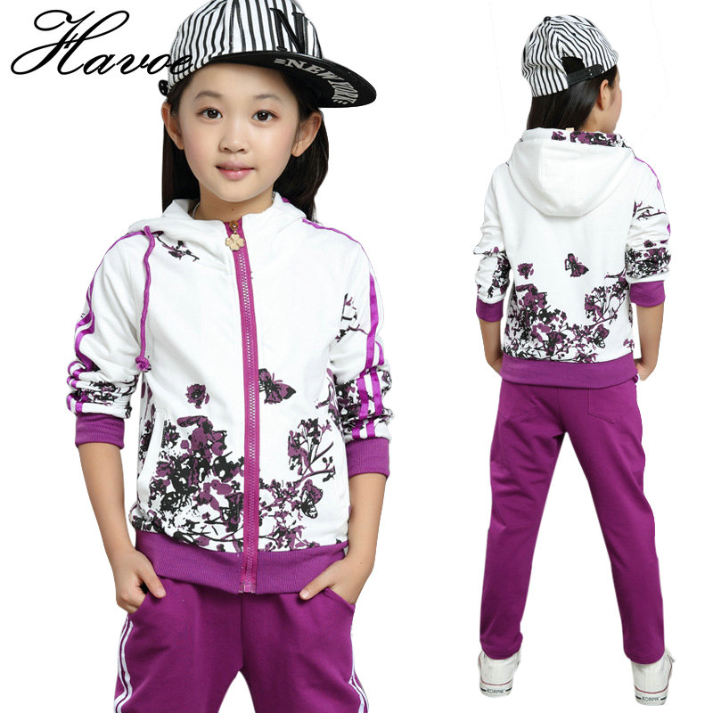 Spring Autumn Girl Clothes S Casual Flower Children Tracksuits for Girls Hooded Jackets Long Pants 2pcs Kids Sport Wear ...