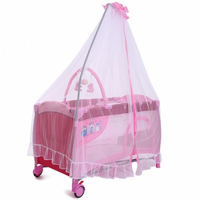 rose fille lit b b avec moustiquaire multifonction portable pliable lits b b avec jouet haute. Black Bedroom Furniture Sets. Home Design Ideas