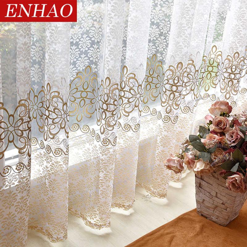 ENHAO Современные сплошные тюлевые шторы с цветочным принтом для гостиной, спальни, кухни, сплошные оконные шторы из вуали, тюлевые шторы, занавески