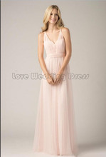 Graceful V Neck Floor Length Prom Gown A Line Wedding Party Bridesmaid Dress Organza Draped Ruched Bridesmaid Dresses