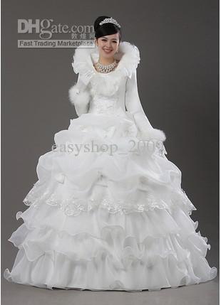 Winter Wedding Dress Turtle Neck Long Sleeve Wedding Gown In Wedding