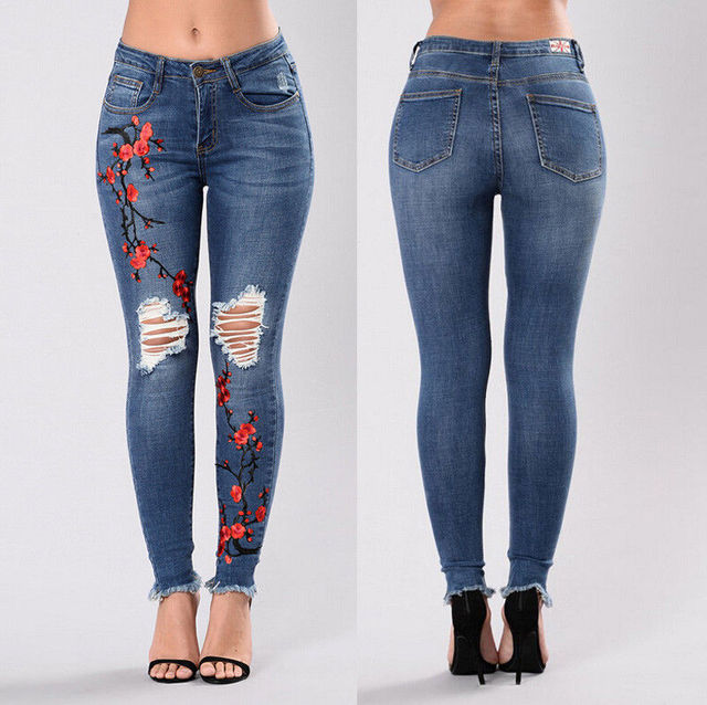 New Women Lady Skinny Hole Jeans Ladies High Waist Stretch Flower Embroidery Demin Pants Jeans Slim Pencil Trousers
