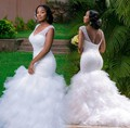 Vestido De Novia Branco Plus Size Vestidos de Noiva Sereia 2016 Cristais Frisada V Neck Lace-up Ruffled Saia de Tule Vestidos de noiva
