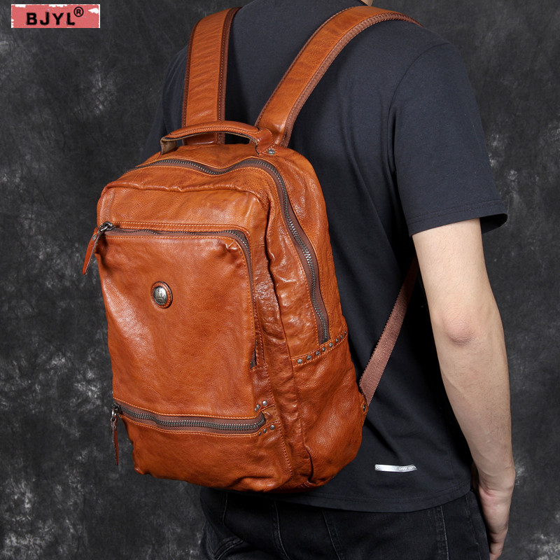 BJYL Retro vegetable tanned leather Men shoulder bag male first layer cowhide backpack original handmade casual men Laptop bags aetoo new original vegetable tanned leather backpack handmade first layer leather british retro shoulder bag art men and women