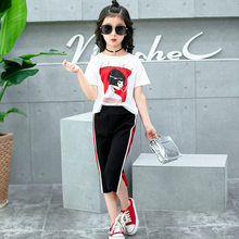 51a76b48b29f88 2018 New Girls Clothing Sets Teens Kids Clothes Suit Children Short Sleeve  T-Shirt +Pants 4-14 Ages