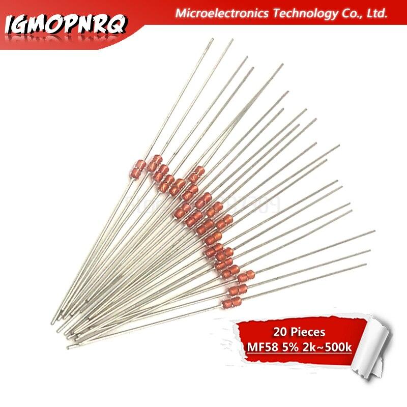 20pcs MF58 B Value: 3950 2K 5K 10K 20K 50K 100K 200K 500K Ohm 5% MF58-2K MF58-5K MF58-10K  Thermistor Resistor