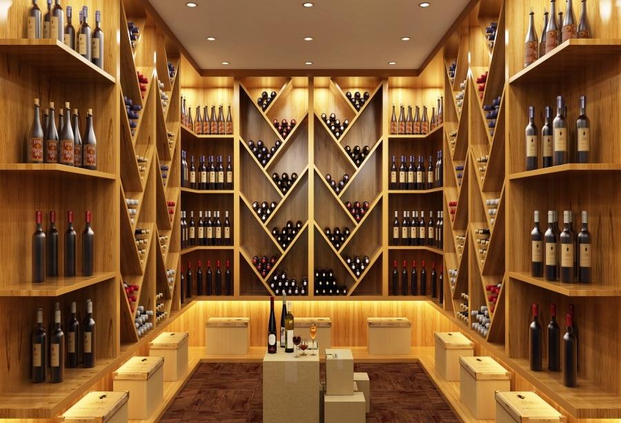 €3.31 25% de réduction|Laeacco cave à vin moderne étagère en bois  célébration acclamation scénique arrière plans photographiques décors de ...
