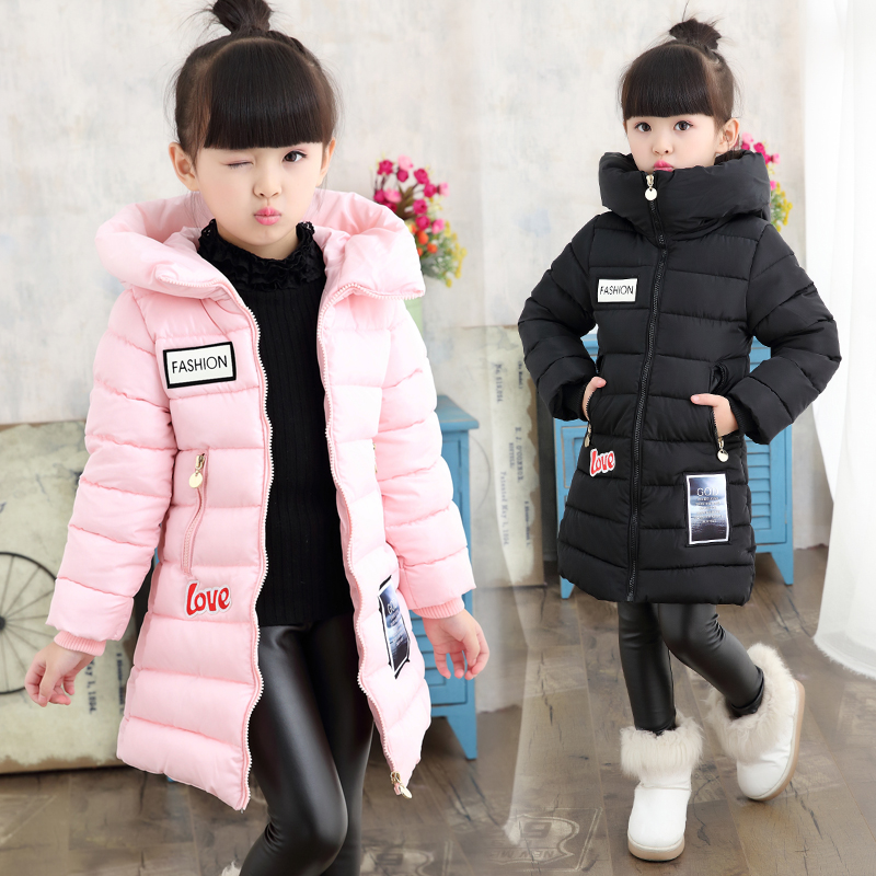 2017 Winter Fashion Girls Thickening Cotton-padded Jacket To Thicken The Coat Warm Clothes Girl Child Warm Has Long Jackets 2017 men down jacket winter warm collar fur trim hood coat outwear puffer down cotton long jacket clothes thick canada cheap