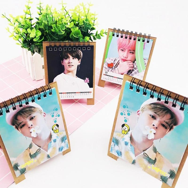 Calendar K-pop Bts Love Yourself 2019 Mini Desktop Calendar Jungkook V Jin Rm Photo Printing Table Calendar Fans Collective Gift Fast Color Calendars, Planners & Cards