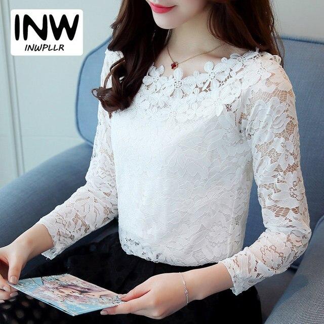 1459e77a0 Oco Rendas Mulheres Encabeça 2019 Nova Floral Blusa Da Moda Manga Longa  Blusas Mujer Femme Tops