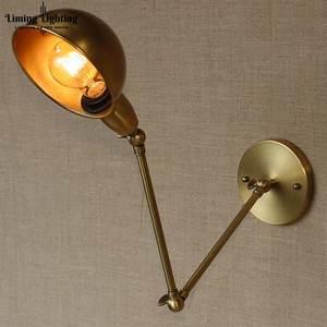 Loft RH brazo largo oscilante Industrial latón ajustar lámpara de pared aplique E27 luz de pared para dormitorio baño vanidad luces porche iluminación