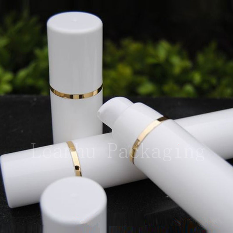 15ml 30ml 50ml white airless bottle with gold strip (2)