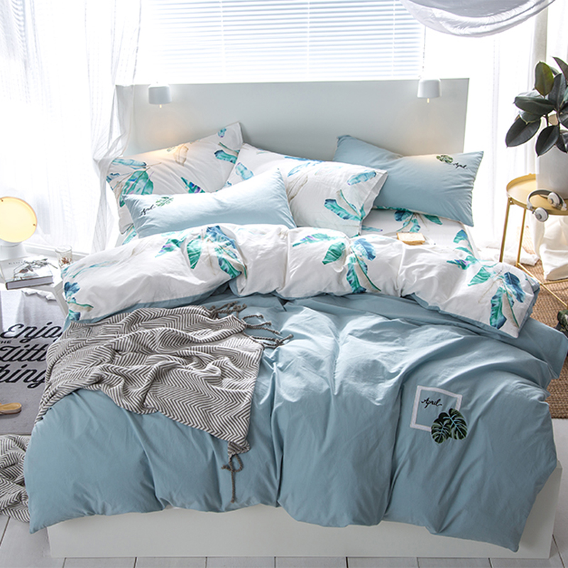 Leaves embroidery and print Simple style duvet cover set bedlinens Washed Cotton Twin Queen King size bedding Sets PillowcasesLeaves embroidery and print Simple style duvet cover set bedlinens Washed Cotton Twin Queen King size bedding Sets Pillowcases
