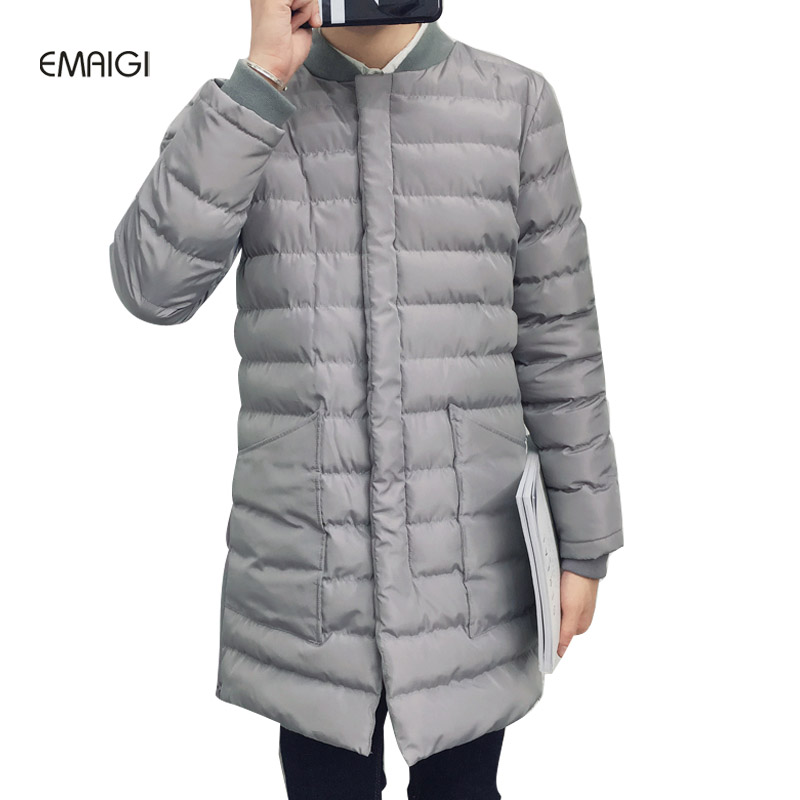 ФОТО Men parkas winter long warm thicken jacket male cotton padded stand collar baseball slim fit fashion casual coat W135