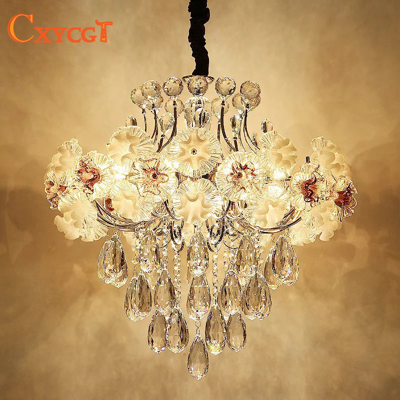 Modern Led Luxury Flower Crystal Chandelier Lighting for Dining Room Foyer Living Room Elegant Hanging Lamp Pendant Lamp Bedroom crystal flower pendant light modern lighting living room lamp bedroom lamp aisle lighting
