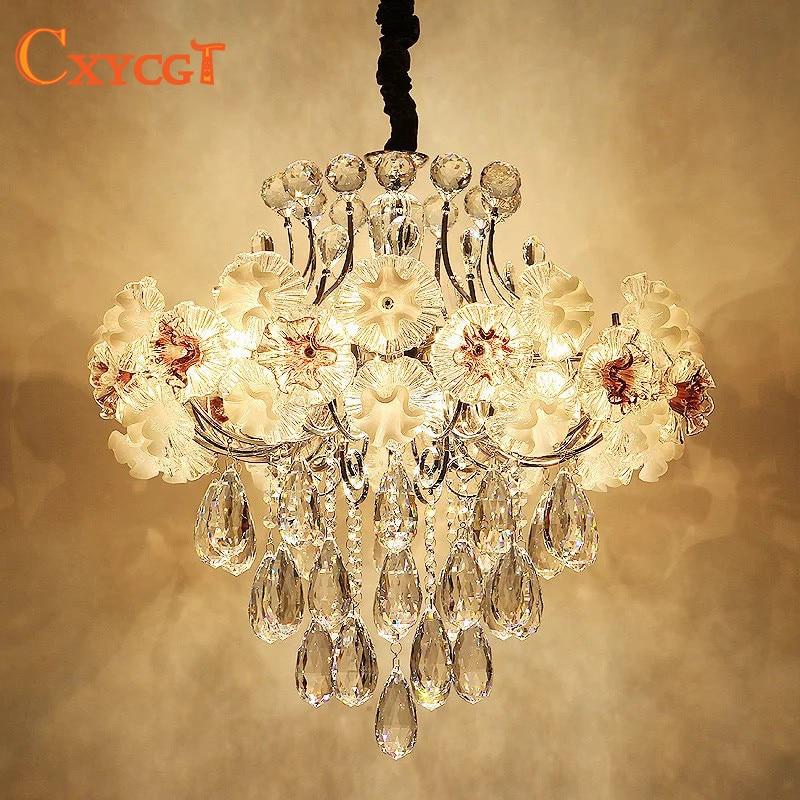 Modern Led Luxury Flower Crystal Chandelier Lighting For