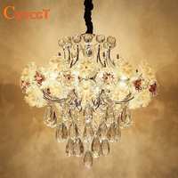 Modern Led Luxury Flower Crystal Chandelier Lighting for Dining Room Foyer Living Room Elegant Hanging Lamp Pendant Lamp Bedroom