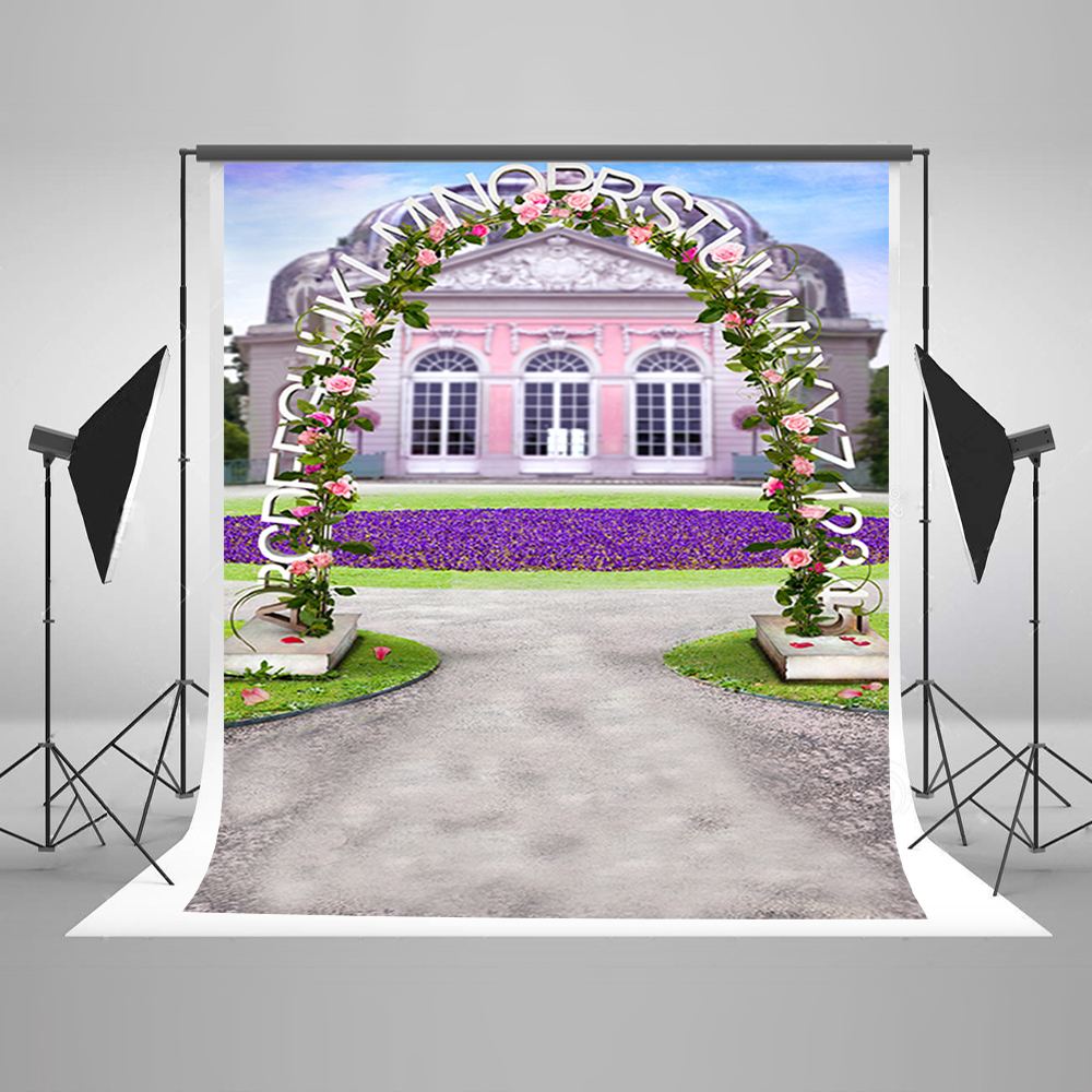 Valentine's Day Photography Background House Flowers Party Photo Backdrops Purple Garden Background for Photography Studio