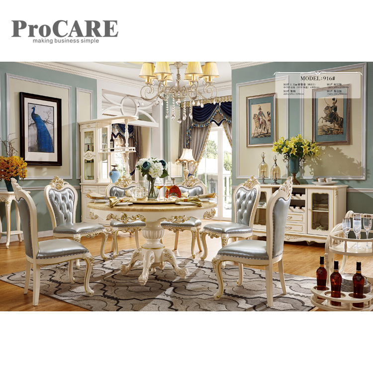 US $2599.0  Foshan comfortable italian design antique gold dining room set  916-in Dining Room Sets from Furniture on AliExpress