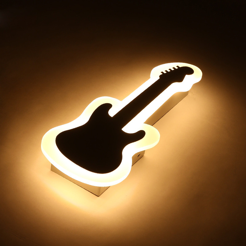 Trois couleurs lumière 18 w lampe de chevet ultra-mince moderne guitare chambre allée salon escalier créatif violon applique murale