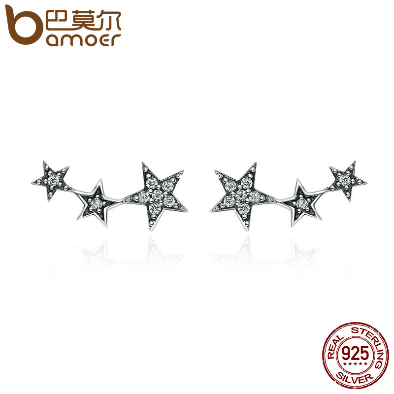 цена на BAMOER Authentic 925 Sterling Silver Sparkling CZ Exquisite Stackable Star Stud Earrings for Women Jewelry Christmas Gift SCE175