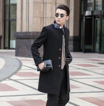 Black Grey khaki blue fashion Single-breasted mens woolen coats man long coat men clothes slim fit overcoat men big size 9XL