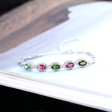 gemstone fine jewelry factory 2019 new-designed trendy  925 sterling silver natural colorful tourmaline bracelet for female