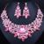 Joyería de La Boda de lujo Rojo Rhinestones Cristalinos de La Hoja pendientes Collar set Moda Joyería Africana fija